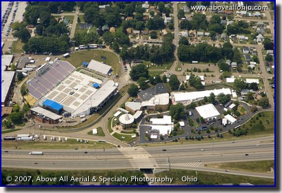 Aerial photograph of the Pro Football Hall of Fame in Canotn, OH