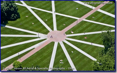 An aerial view of the heart of The Oval during the summer on the campus of The Ohio State University; Columbus, OH