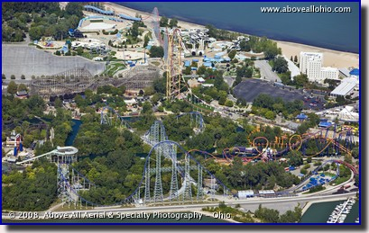 A closeup aerial view of some of the many roller coasters at Cedar Point in Sandusky, Ohio