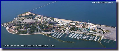 Aerial panoramic photo of Cedar Point amusement park in Sandusky, Ohio.