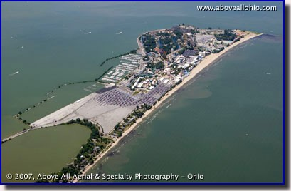 Aerial photo of Cedar Point Amusement Park in Sandusky, Ohio