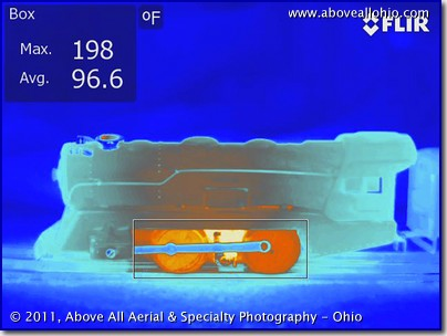 "A thermal infrared photograph (""thermograph"") of an old Louis Marx electric train engine (circa 1949) after running for about 10 minutes in 2011"