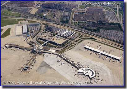 Aerial view of Cleveland Hopkins Airport Terminal and Ford plant