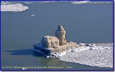 "Aerial view of the ""ice lighthouse"" where the Cuyahoga River empties into Lake Erie near downtown Cleveland, Ohio"
