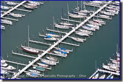A low and close view of a marina in Cleveland, Ohio.