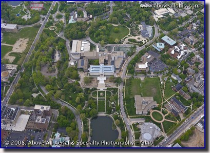 Aerial photo of The Cleveland Art Museum, Botanical Gardens, and Severance Hall