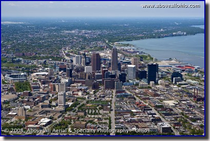 A wide angle aerial view of downtown Cleveland, OH, looking west.