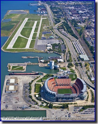 Aerial photo of Cleveland Stadium and Burke Lakefront Airport