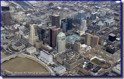 Aerial view of downtown Columbus, Ohio, looking northeast