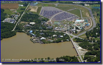Aerial view of the Columbus Zoo and Zoombezi Bay (formerly Wyandot Lake) water park near Dublin, Ohio