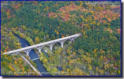 Aerial photo - fall foliage and bridge Cuyahoga Valley National Park, near Cleveland OH