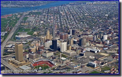 Aerial photo of downtown Buffalo, NY, with Niagara River in background