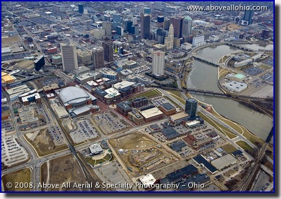 Aerial photograph of downtown Columbus, Ohio, showing Nationwide Arena, and the new Huntington Park baseball stadium construction