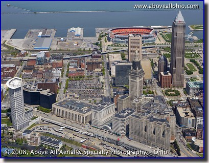 Close up aerial photo of downtown Cleveland Ohio looking north