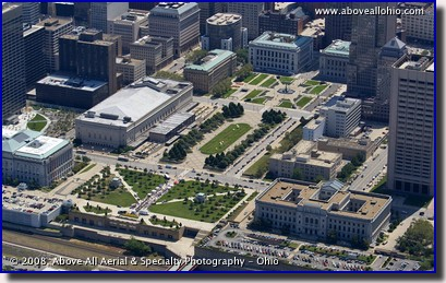 Aerial photograph of Mall B in downtown Cleveland