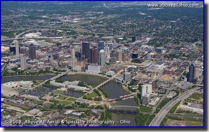 Wide angle aerial photograph of downtown Columbus, Ohio