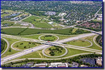 An aerial view of a 4-leaf clover highway interchange near Dublin, OH.