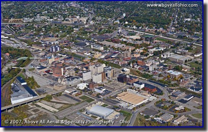 A wide angle aerial view of downtown Youngstown, Ohio, taken in early fall, 2007.