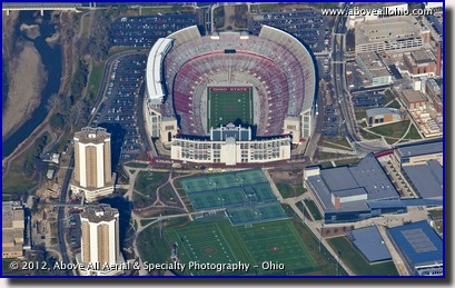 Aerial view of an empty Ohio Stadium after the Buckeyes went 12-0 in 2012; Columbus, OH