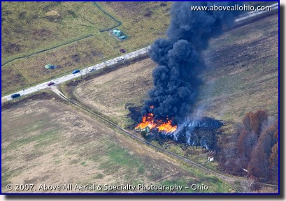 Aerial photograph of a fire resulting from a gas storage explosion