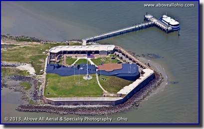 An aerial view of Fort Sumter in Charleston, South Carolina; site of the first shots of the Civil War