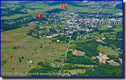 A wide angle aerial view of the town of Gettysburg, PA, and the Gettysburg Civil War battlefield.