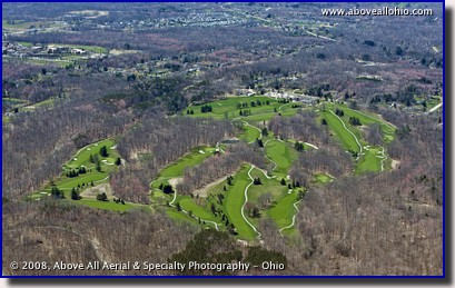 An aerial view of a very green Sleepy Hollow golf course in early spring; Brecksville, OH