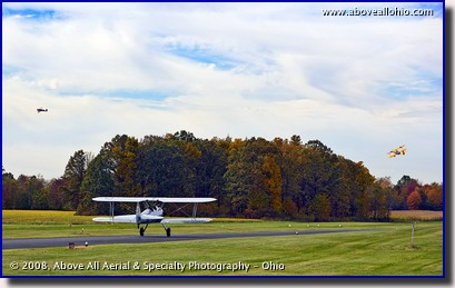 Three Stearman biplanes depart from Salem, Ohio, airport