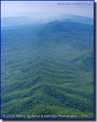 An aerial view of an Appalachian Mountain ridge in northeastern TN