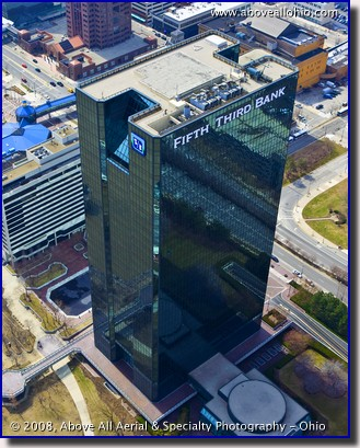 An aerial view from a helicopter of the Fifth Third bank building in downtown Toledo, Ohio