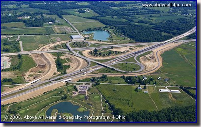 Aerial view of the construction taking place at Interstates 71 and 76