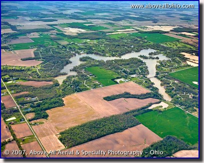 Aerial view of Holiday Lakes, near Willard, Ohio