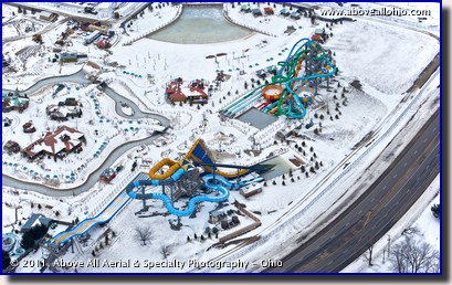 An oblique aerial view of an icy Zoombezi Bay water park, northwest of Columbus, OH