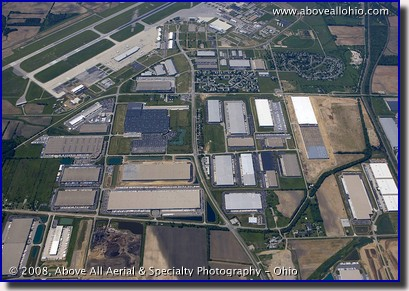 Aerial photo of an industrial park near Rickenbacker Air Force base in Columbus