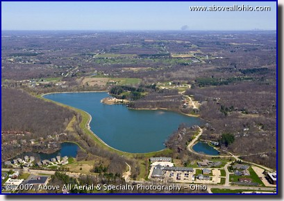 Aerial photo of Lake Medina, in Medina, OH