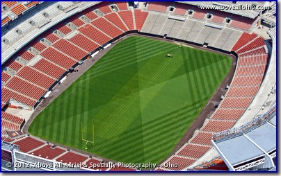 A low and close view of Cleveland Browns Stadium, taken from a helicopter, as the field is being prepared for action.