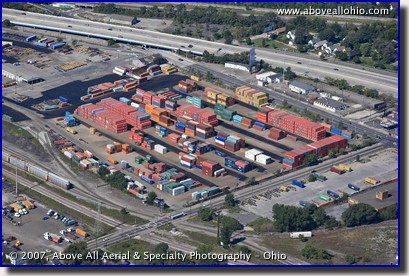 Aerial photograph of an intermodal yard in Michigan