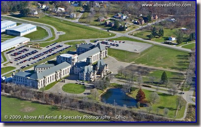 Aerial view of the Old Mansfield (Ohio) Reformatory with part of the new prison visible behind it (to the left)