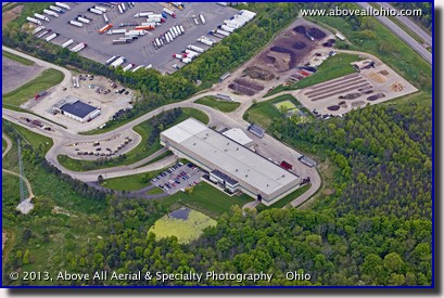 An oblique aerial photo of the Medina County Recycling Center's Central Processing Facility near Seville, Ohio.
