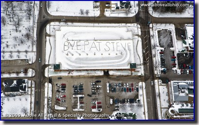 Aerial photo - a message for retiring employees on top of a parking garage in Medina, OH