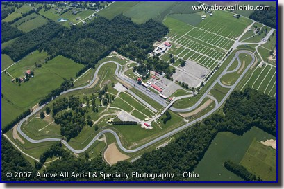 Aerial photograph of the Mid-Ohio Sports Car Course in Lexington, Ohio