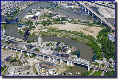 A wide angle aerial view of the Cuyahoga River in downtown Cleveland, OH.