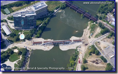 Aerial view of the new Main Street bridge in downtown Columbus, OH, currently under construction