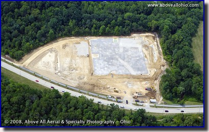 Aerial view of construction progress at one of two new Medina elementary schools