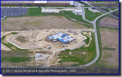 An aerial view of the new Mercy Hospital under construction in Willard, Ohio
