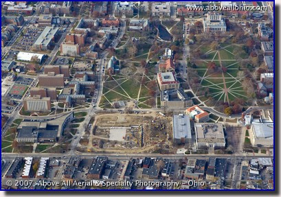 Aerial photograph of the new Ohio Union under construction in Columbus