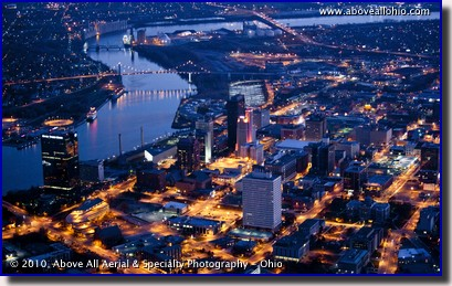 "Downtown Toledo, Ohio, known as the ""Glass City"" shines in this night time aerial photo"