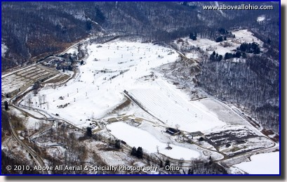 Aerial photo of Brandywine ski resort in Cuyahoga Valley National Park near Cleveland, OH