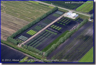 An oblique aerial view of the Ohio State Muck Crops Agricultural Research Station near Celeryville, Ohio.