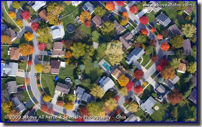 Aerial photograph of spectacular fall colors in a suburban Toledo (Ohio) neighborhood